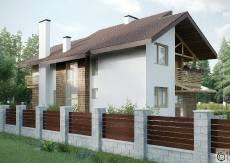 Загородный дом с фасадом из шинделя